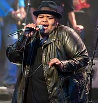 Toshi Reagon performing at Deep Roots of Rock and Roll Photo: Kevin Yatarola